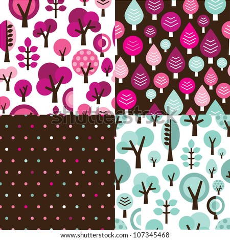 Seamless retro nature tree pattern set background in vector - stock vector