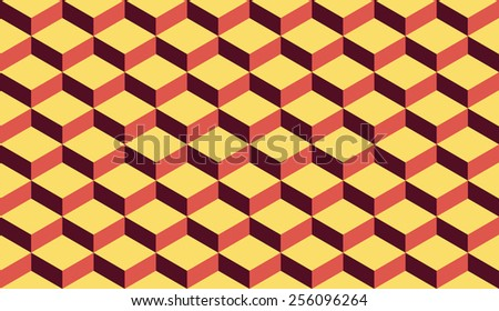 Seamless retro palette isometric flattened cubes optical illusion pattern vector - stock vector