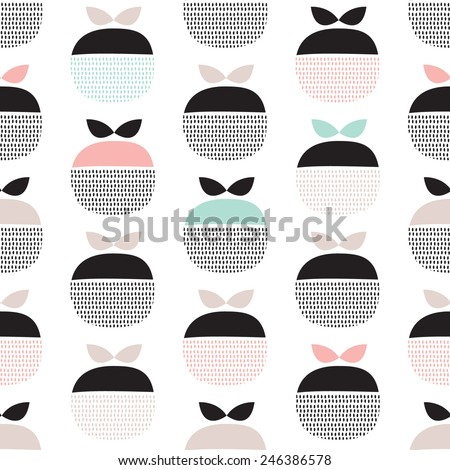 Seamless retro pastel fruit illustration Scandinavian style apple pattern background in vector - stock vector