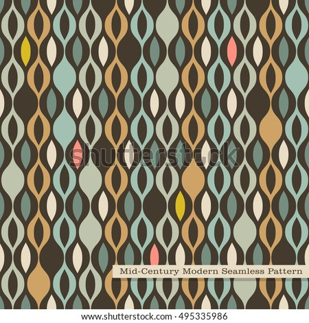 Seamless Retro Pattern In Mid Century Modern Style Abstract Wavy Stripes Vintage Colors