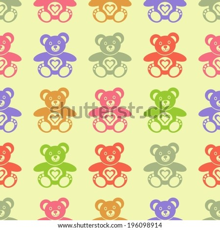 Seamless retro pattern made of colorful teddy bears - stock vector