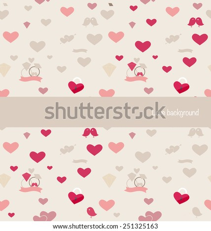 Seamless retro pattern of Valentine's hearts. Valentines day background. Vector illustration.
