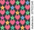 Seamless retro pattern. Texture with threadbare hearts and stars. Vector version. - stock vector