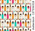 Seamless retro pattern with bottles of wine and glasses. - stock vector