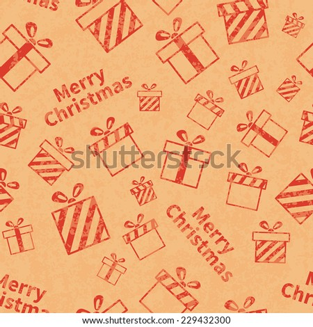 Seamless retro pattern with gift boxes and Merry Christmas text. Vector illustration EPS10