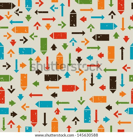 Seamless retro pattern with pointers, arrows - stock vector
