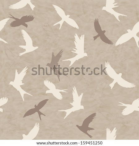 Seamless retro pattern with silhouettes of colorful birds - stock vector