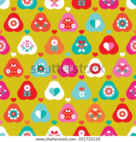 Seamless retro pear illustration colorful fruit background pattern in vector - stock vector