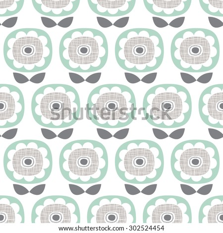 Seamless retro poppy flower abstract garden floral illustration background pattern in vector - stock vector