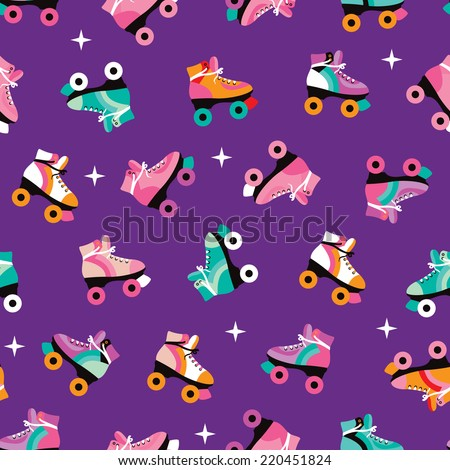Seamless retro roller skates colorful disco theme illustration background pattern in vector - stock vector