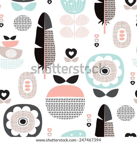 Seamless retro scandinavian style pastel flowers poppy blossom and feather background pattern in vector - stock vector