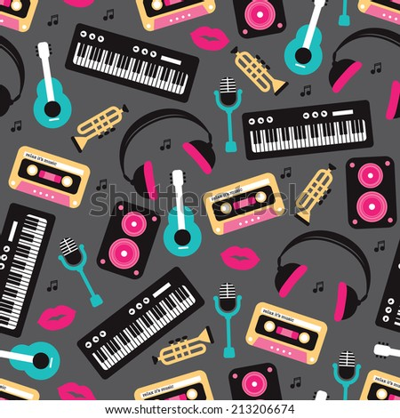 Seamless retro sing and song music instruments and icons theme illustration background pattern in vector - stock vector