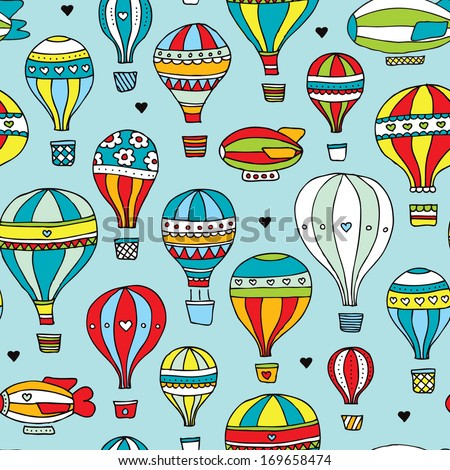 Seamless retro style hot air balloon and zeppelin kids illustration background pattern in vector - stock vector