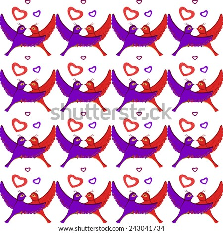 Seamless retro style pair of birds in love pattern on white vector background. Valentines Day background. Valentine wrapping design. Used for wallpaper, pattern fills, web page, surface textures. - stock vector