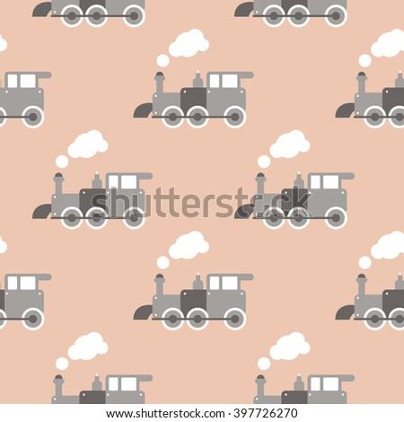 Seamless retro style toy steam train Scandinavian kids background pattern in vector - stock vector