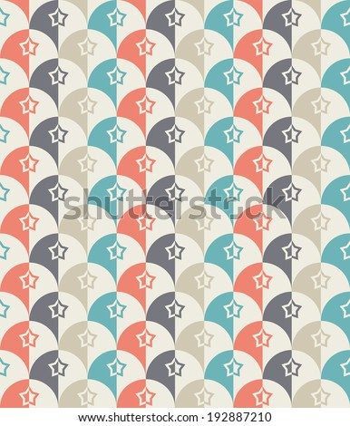Seamless Retro-stylized Shapes. Tillable, seamless easy-edit  - stock vector