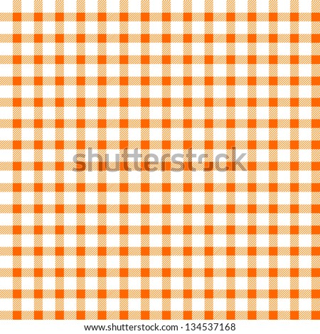 Seamless retro white-orange square tablecloth - stock vector