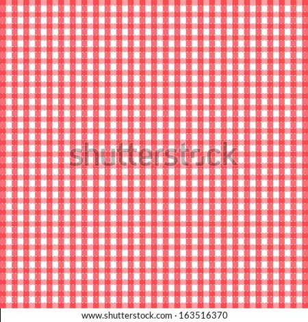 Seamless retro white-red square tablecloth - vector - stock vector