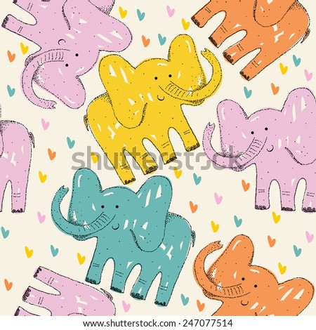 Seamless retro with cartoon elephant. kids vector illustration.   - stock vector