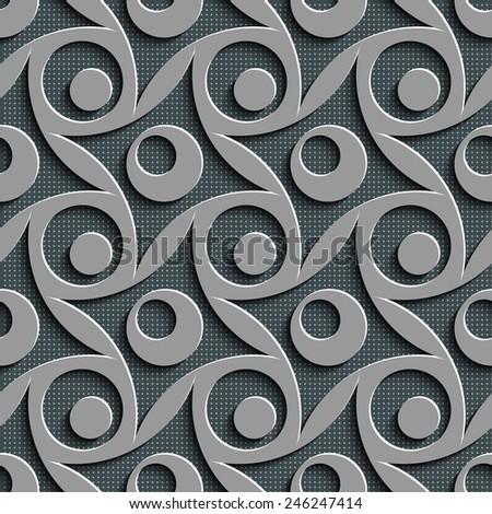 Seamless Rhombus and Circle Pattern. Vector Gray Regular Texture - stock vector