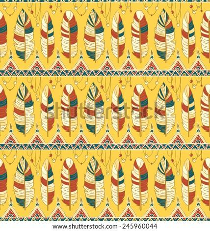 Seamless rhombus background. Endless geometric pattern. Native American indigenous ornamental seamless pattern background with feathers and totem poles. - stock vector