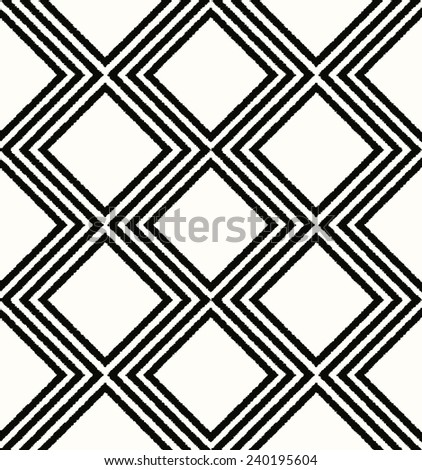 seamless rhombus mesh black and white pattern - stock vector