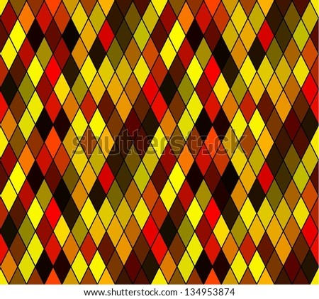 Seamless rhombus stained glass pattern - stock vector