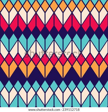 Seamless rhombus vector geometric pattern background - stock vector