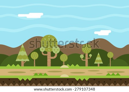 Seamless Road and Nature Concept Flat Design Landscape Background Template Vector Illustration - stock vector