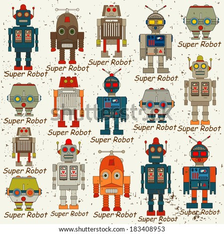seamless Robot pattern,cartoon vector illustration