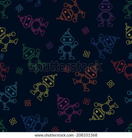 seamless Robot pattern,cartoon vector illustration. - stock vector