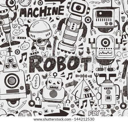 seamless robot pattern, illustrator line tools drawing - stock vector