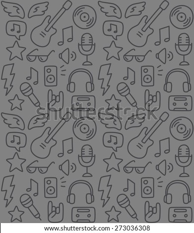 Seamless rock music background texture, hand drawn doodle style. - stock vector