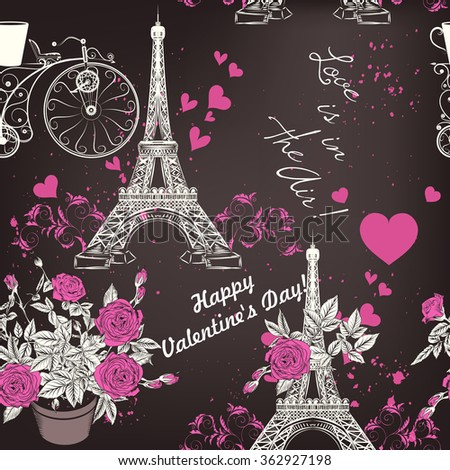 Seamless romantic background with Eiffel tower roses and hearts love is in the air - stock vector