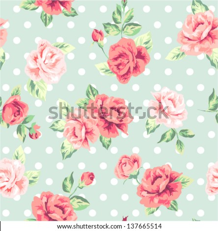 seamless romantic flower ,spring floral with dots vector pattern background
