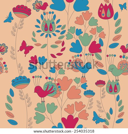 Seamless romantic pattern with a retro feel