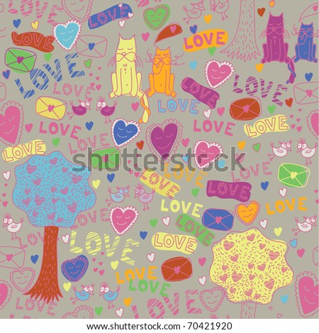 seamless romantic pattern with cat, bird, envelope & tree - stock vector