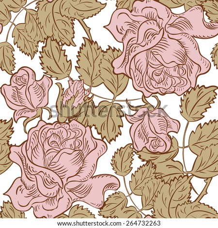 seamless rose floral background, silhouette design plant