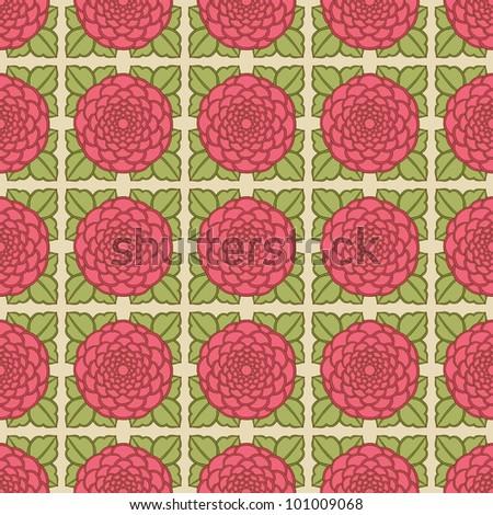 Seamless Rose Pattern - stock vector