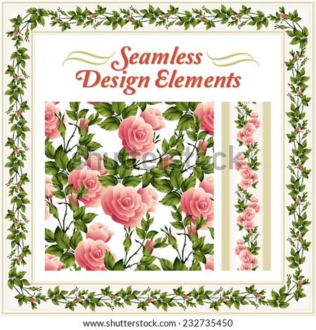 Seamless rose pattern. Vector illustration - stock vector