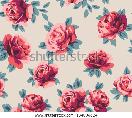 seamless rose pattern with brick color tone for fashion design,quilting on woven fabric as well - stock vector