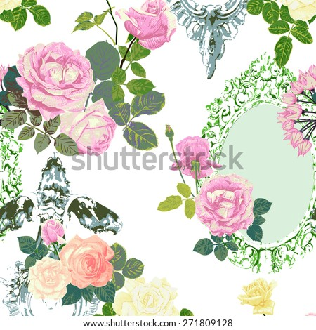 seamless roses and frames pattern on white background , vector - stock vector