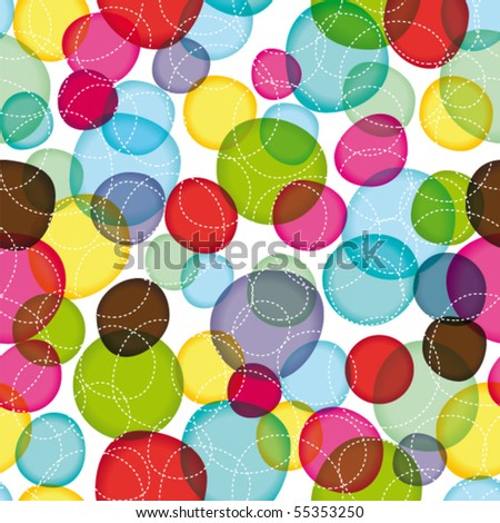 Seamless round bubbles kids pattern in vector - stock vector