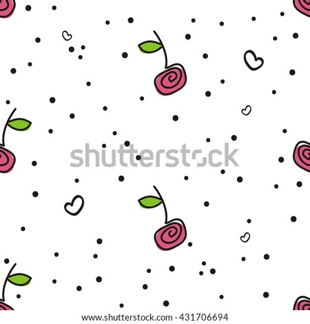 Seamless sample, cherries, white background. A cheerful summer sample with berries of cherry, hearts and confetti. Vector, EPS 10. Fabric, packing paper, party invitation, celebration, etc. - stock vector