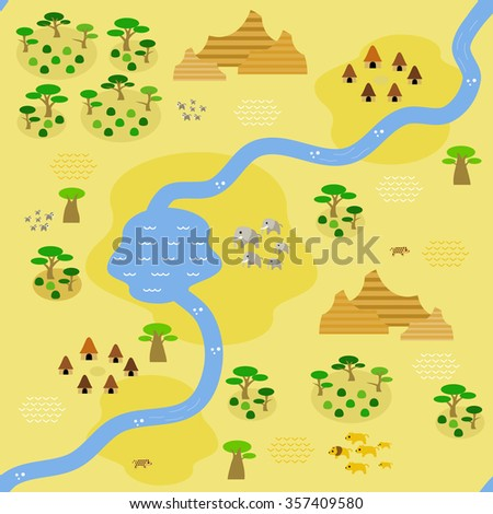Seamless savannah map in flat style, depicting a savannah crossed by river and some settlements around, with big savannah rock formation in the north and east, animals, and occasional savannah trees.