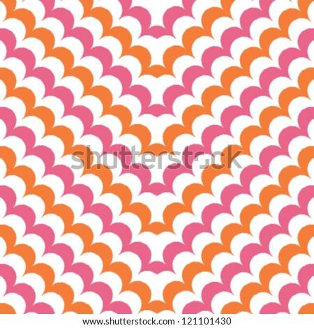Seamless scallops chevron background pattern - stock vector