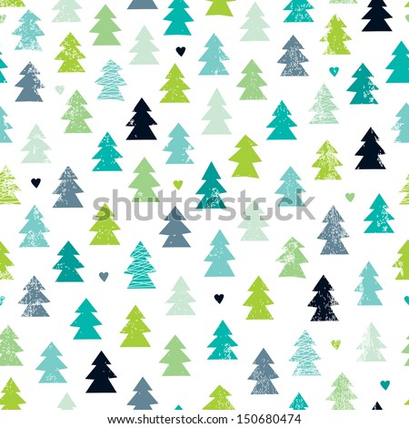 Seamless scandinavian forest christmas tree illustration background pattern in vector - stock vector
