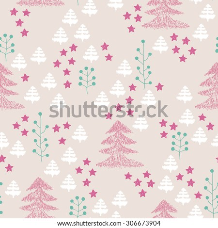 Seamless scandinavian style illustration forest tree christmas theme background pastel pink and mint green pattern in vector  - stock vector