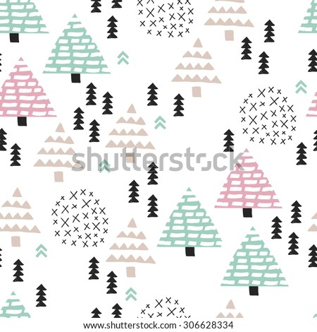 Seamless scandinavian style illustration forest tree christmas theme background soft blue pink pattern in vector  - stock vector