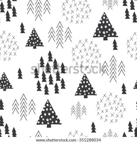 Seamless scandinavian style simple illustration christmas tree theme background - stock vector